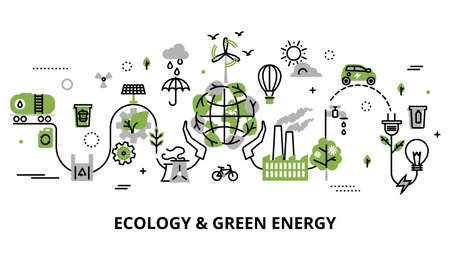 Linea sottile piana moderna illustrazione di vettore di progettazione, concetto infographic del problema di ecologia, generazione e energia verde di risparmio per grafica e web design