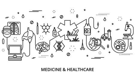 Modern editable line vector illustration, concept of medicine and healthcare, for graphic and web design Illustration