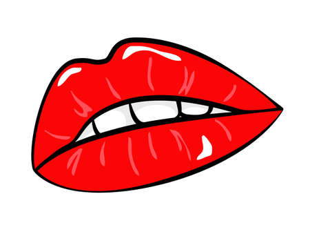 Woman lips sticker of 80s retro comic style. Vector illustration isolated on white background