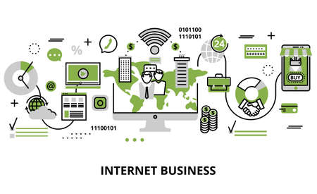 Modern flat line design vector illustration, concept of internet business process and finance success in greenery color, for graphic and web design. Stock Illustratie