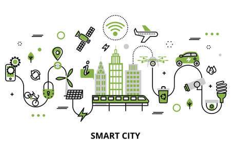 Modern flat line design, concept of smart city, technologies of future and urban innovations, for graphic and web design.