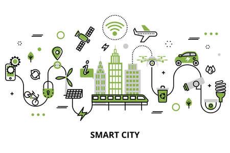 Modern plat lijnontwerp, concept van slimme stad, technologieën van toekomstige en stedelijke innovaties, voor grafisch en webontwerp. Stockfoto - 94850383