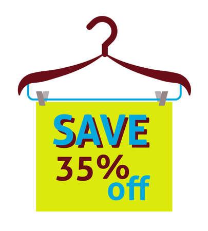 Save 35% off label, flat vector illustration Illustration