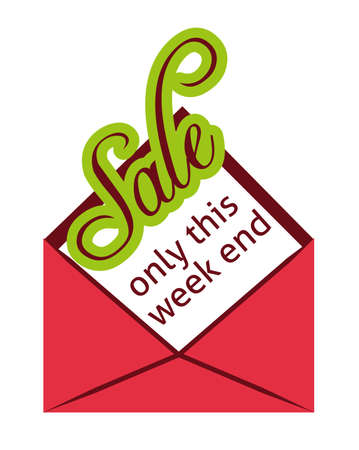 Sale only this week end label, flat vector illustration