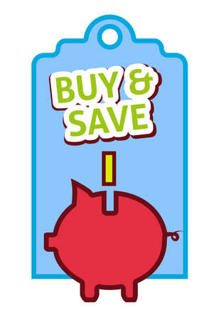 Buy and save label, flat vector illustration