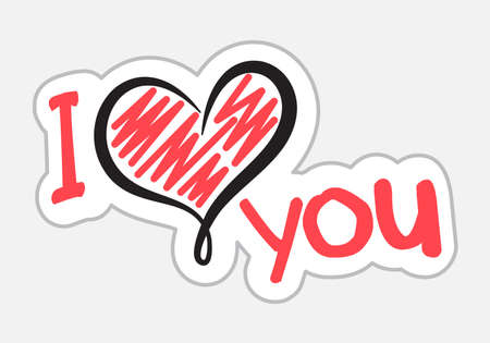 I Love You sticker in retro style. Vector illustration isolated on white background Vettoriali