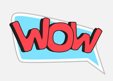 Wow sticker in retro style. Vector illustration isolated on white background
