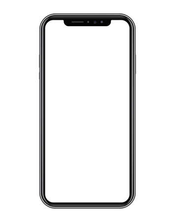 Modern black smart phone on white background. Realistic vector illustration, for graphic and web design