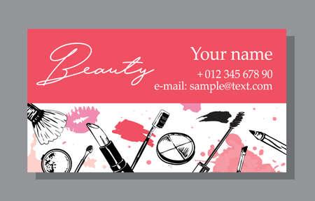 Banner di vendita di cosmetici e modelli di annunci, illustrazione di vettore di stile disegnato a mano