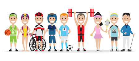 Set of people related to the different sports such as basketball, swimming and others, vector illustration Illustration