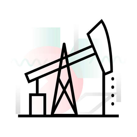 Concept icon of oil and gas production with abstract background, modern thin line design vector illustration for graphic and web design Ilustração
