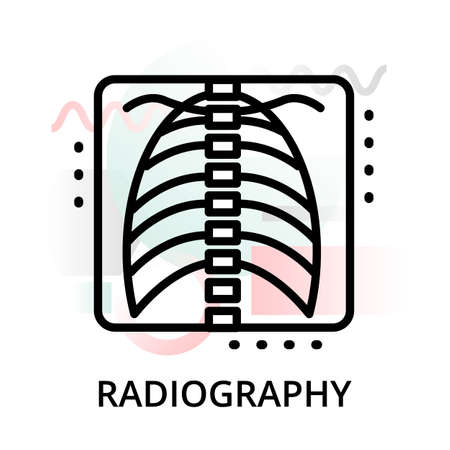 Modern flat editable line design vector illustration, concept of radiography icon on abstract background, for graphic and web design Illustration