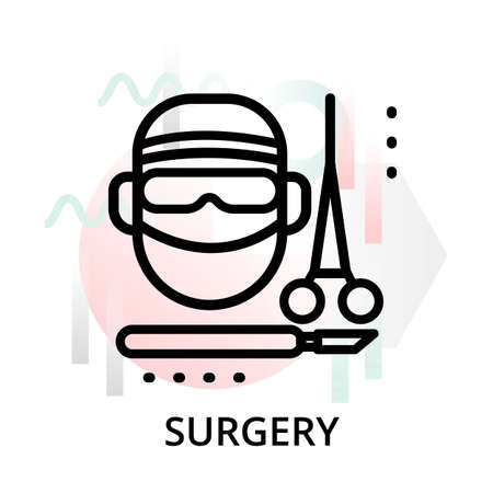 Modern flat editable line design vector illustration, concept of surgery icon on abstract background, for graphic and web design Çizim