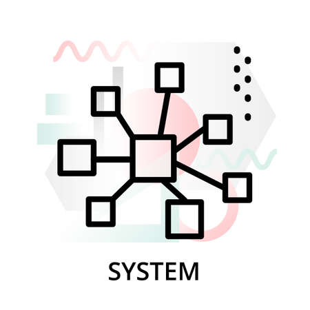 System concept icon on abstract background from science icons set, for graphic and web design, modern editable line vector illustration