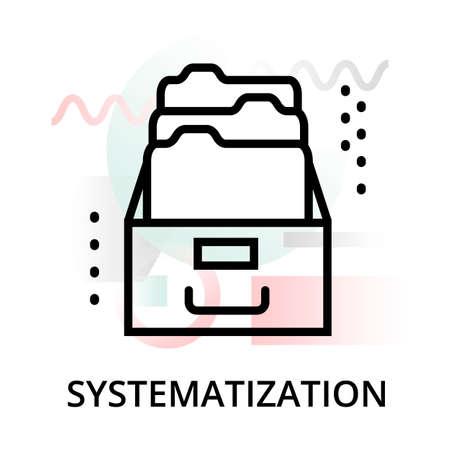 Icona del concetto di sistematizzazione su sfondo astratto da set di icone di scienza, per grafica e web design, illustrazione vettoriale di linea moderna modificabile