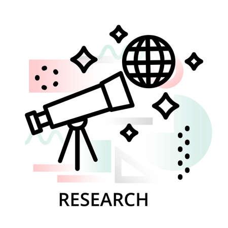 Icono de concepto de investigación sobre fondo abstracto de conjunto de iconos de ciencia, para diseño gráfico y web, ilustración de vector de línea editable moderna Ilustración de vector