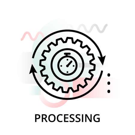 Illustration vectorielle de ligne modifiable moderne, icône de traitement sur fond abstrait, pour le graphique, pour la conception graphique et web Vecteurs