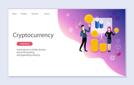 Creative website template of web page for cryptocurrency, vector illustration