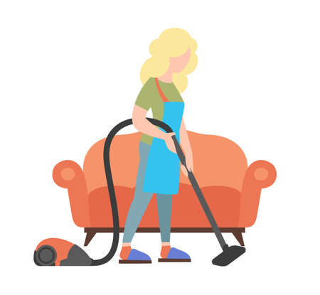 People weekend concept - woman cleaning house by vacuum cleaner on white background, flat vector illustration