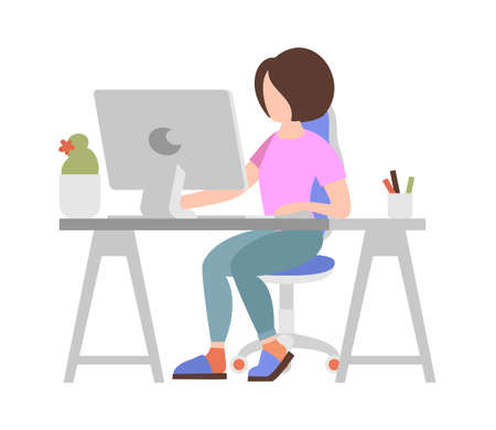 People weekend concept - woman working on computer on white background, flat vector illustration