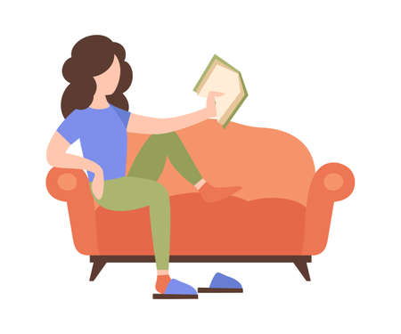People weekend concept - woman sits on sofa and read a book on white background, flat vector illustration