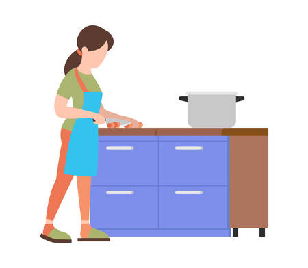 People weekend concept - woman is cooking food on white background, flat vector illustration Çizim