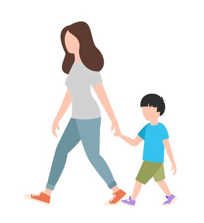 Menschenwochenendekonzept - frau, die mit einem kind auf weißem hintergrund geht, flache vektorillustration Vektorgrafik