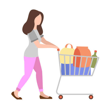 People weekend concept - woman shopping with shopping cart on white background, flat vector illustration
