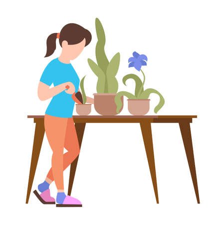 People weekend concept - woman caring for flowers in the pot on white background, flat vector illustration