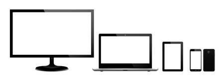 Set of black gadgets and computer devices in front side on white background. Realistic vector illustration, for graphic and web design