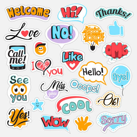 Set of speech bubbles with different words for communication in social media. Isolated vector illustration