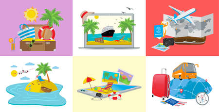 Set of travel concepts, 3d isometric vector illustration for web design