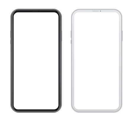 White and black smart phones in front side on white background. Realistic vector illustration, for graphic and web design