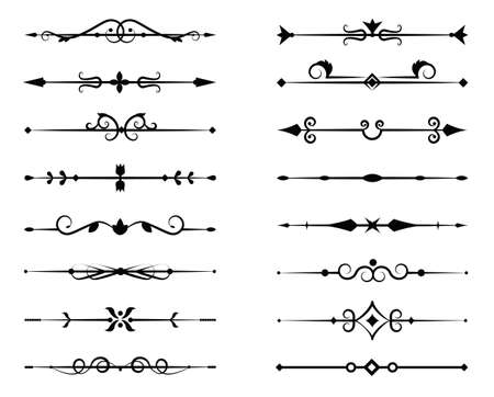 Set of ornamental filigree flourishes and thin dividers on white background. Classical vintage elements, vector illustration