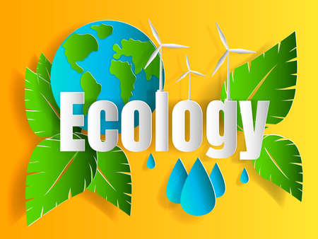 Concept of ecology problem with word and generation and saving green energy for graphic and web design, paper cut style vector illustration  Çizim
