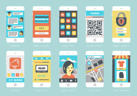 Set of smart phones with different user interface elements, flat design vector illustration Çizim