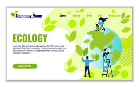 Plantilla de sitio web de ecología y generación y ahorro de energía verde para diseño gráfico y web, ilustración de vector de diseño plano Ilustración de vector