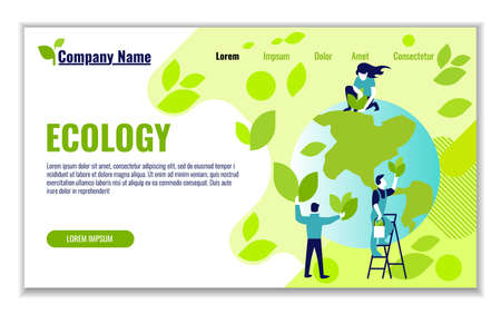 Website template of ecology and generation and saving green energy for graphic and web design, flat design vector illustration  Çizim