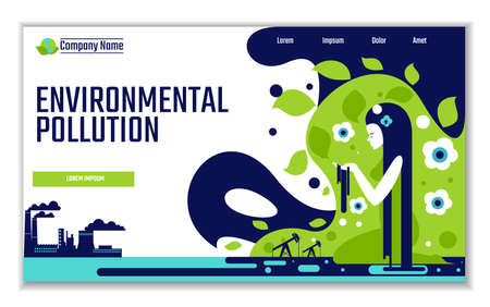 Website template of environmental pollution, for graphic and web design, flat design vector illustration