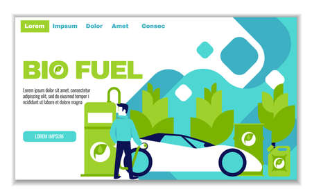 Website template of bio fuel, for graphic and web design, flat design vector illustration Çizim