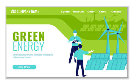 Website template of green energy and saving ecology, for graphic and web design, flat design vector illustration