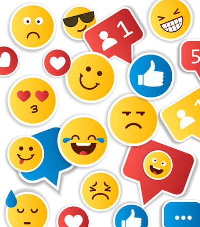 Set of yellow emoticons and emojis. Vector illustration flat style on white background  イラスト・ベクター素材