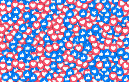 Background of thumb up and heart icons, vector illustration