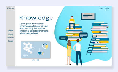 Website template of knowledge concept, modern flat design vector illustration, for graphic and web design Çizim