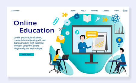 Website template of Online Education concept, modern flat design vector illustration, for graphic and web design