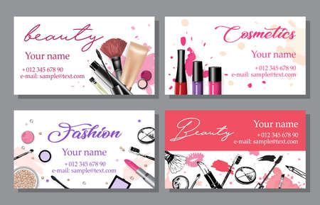 Set of cosmetics sale banners and ads templates, hand drawn style vector illustration Çizim