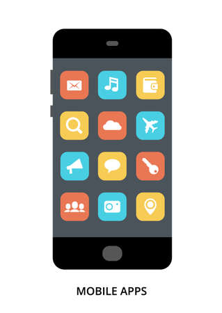 Mobile Apps concept on black smartphone with different user interface elements, flat vector illustration