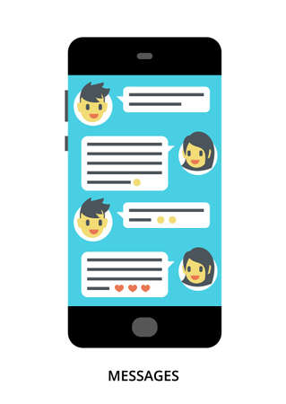 Messages concept on black smartphone with different user interface elements, flat vector illustration