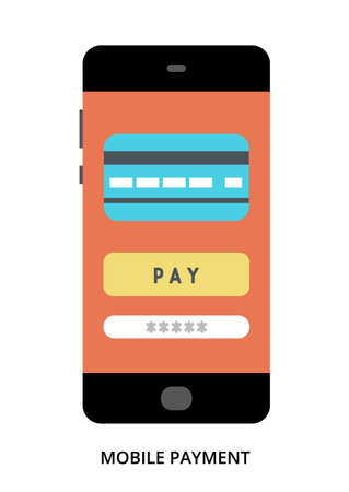 Mobile Payment concept on black smartphone with different user interface elements, flat vector illustration