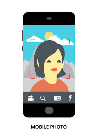 Mobile Photo concept on black smartphone with different user interface elements, flat vector illustration Ilustrace